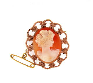Vintage 9ct rose gold cameo set brooch
