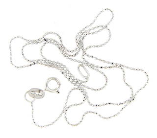 18ct White Gold Beaded Chain