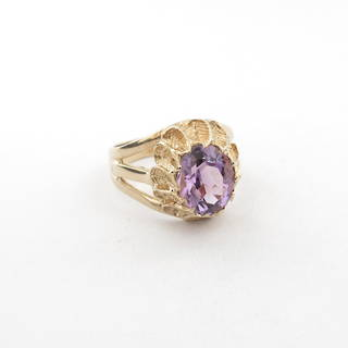 9ct gold amethyst fancy ring