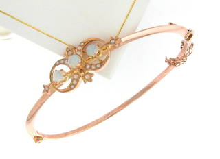 9ct rose gold opal and seed pearl set hinged bangle