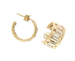 9ct gold bitonal hoop earrings