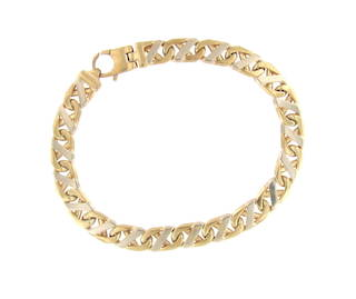 9ct yellow and white gold fancy curb link bracelet