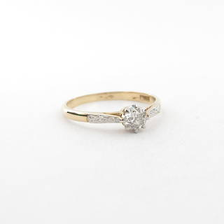 18ct yellow and platinum diamond solitaire ring