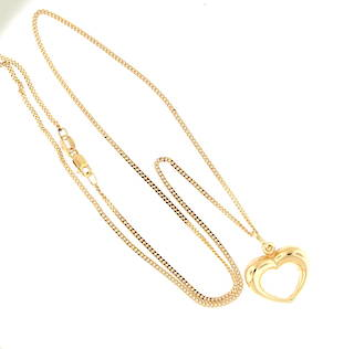 9ct yellow gold curb chain with 9ct yellow gold hollow heart pendant