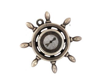 Sterling silver antique ship wheel compass