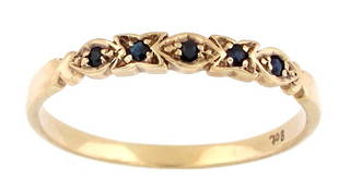 9ct yellow gold sapphire set fancy band style ring