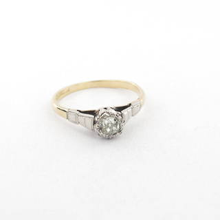 18ct yellow gold and platinum vintage diamond solitaire ring
