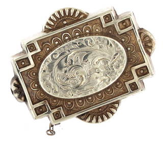 Sterling silver antique hollow brooch