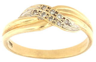9ct yellow and white gold cross over style diamond set ring