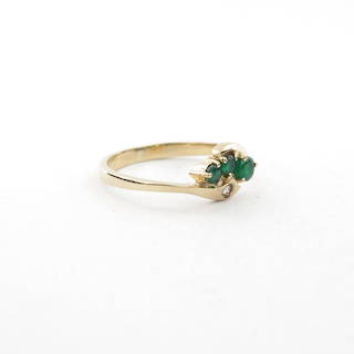 9ct yellow gold natural emerald and diamond set ring