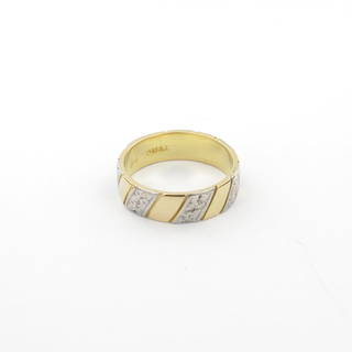 18ct yellow gold/palladium fancy band