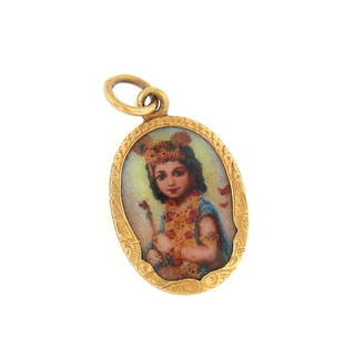 18ct yellow gold Indian enamelled pendant