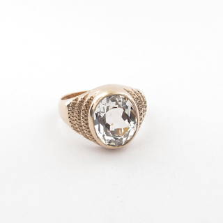 9ct rose gold synthetic white spinel ring