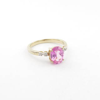 9ct yellow and white gold synthetic pink sapphire and diamond set ring