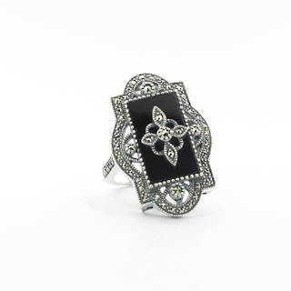 Brand new sterling silver onyx and marcasite dress ring