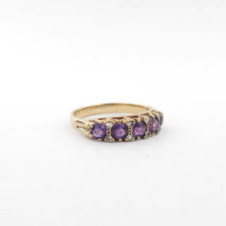 9ct yellow gold amethyst and diamond london bridge style ring