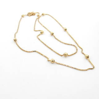 9ct yellow gold box link and ball design fancy chain