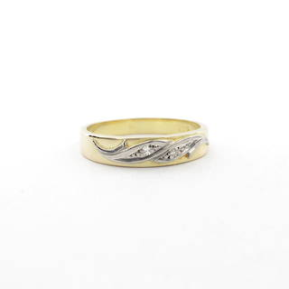18ct yellow gold/platinum vintage diamond set band