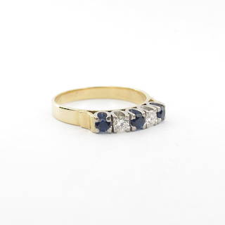 18ct yellow gold sapphire/diamond  set dress ring