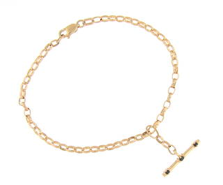 9ct yellow gold bracelet with fob bar