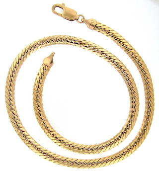 9ct yellow gold herringbone link necklace