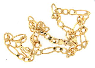 9ct yellow gold large figaro link chain