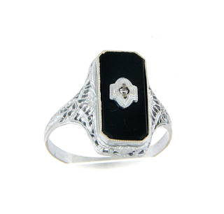 10ct white gold onyx and diamond set unisex ring