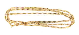 18ct yellow gold thin curb linked chain