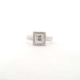18ct white gold diamond cluster ring with shoulder diamonds