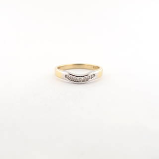 9ct yellow and white gold diamond set curved wedding band