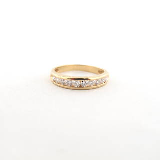 18ct yellow gold 10 stone diamond channel set wedding band