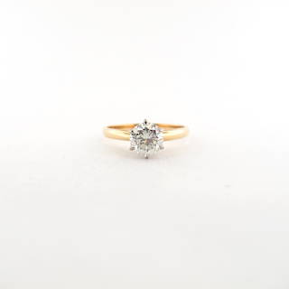 18ct yellow and white gold diamond solitaire ring
