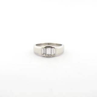 Platinum 3 stone baguette diamond ring