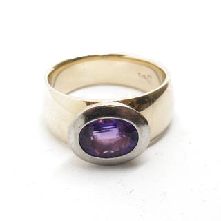 9ct yellow and white gold handmade rub over amethyst set ring