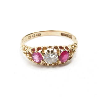 18ct yellow gold ruby (1x synthetic) and diamond London -bridge style style ring