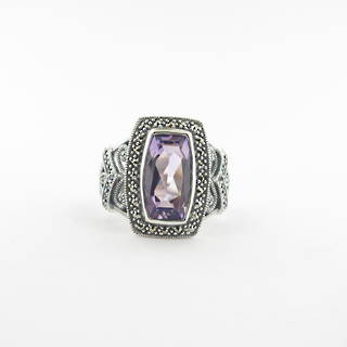 Brand new sterling silver amethyst and marcasite ring