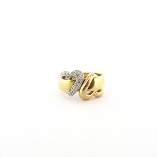18ct yellow rose and white gold double heart cubic zirconia ring