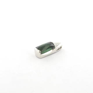 Platinum green tourmaline and diamond set pendant
