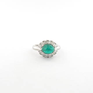 Platinum cabochon emerald and diamond cluster ring