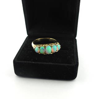 18ct yellow gold 5 stone opal ring