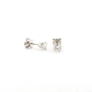 14ct rhodium plated yellow gold diamond solitaire threaded stud earrings