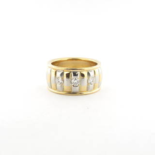 18ct yellow gold and platinum 3 stone diamond set wide band