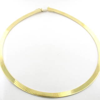 14ct yellow gold flat link necklace