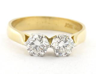 18ct yellow and white gold two stone diamond ring