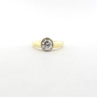 18ct yellow and white gold rubover solitaire diamond set ring