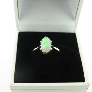9ct yellow gold solid opal dress ring