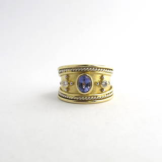 18ct yellow gold & platinum tanzanite and diamond ring