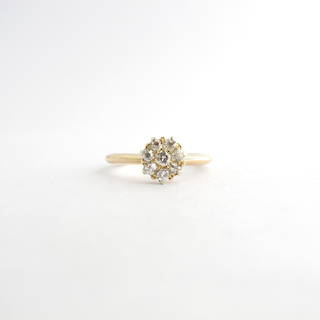 18ct yellow gold antique diamond cluster ring