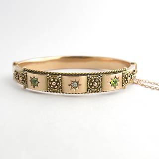 9ct rose gold antique peridot & old cut diamond hinged bangle