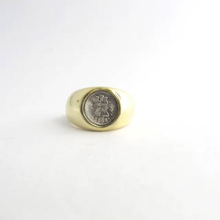14ct yellow gold signet ring set with a spanish coin '1821'